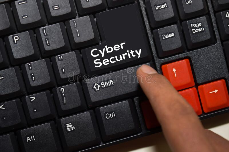 Cyber Security write on keyboard isolated on laptop background stock photos