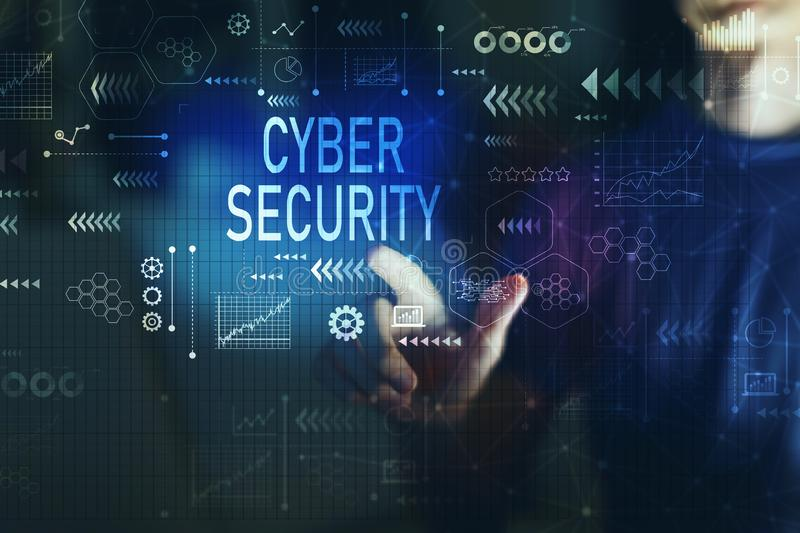 Cyber security with young man royalty free illustration
