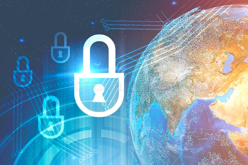 Cyber securtity Schnittstelle, Erde vektor abbildung