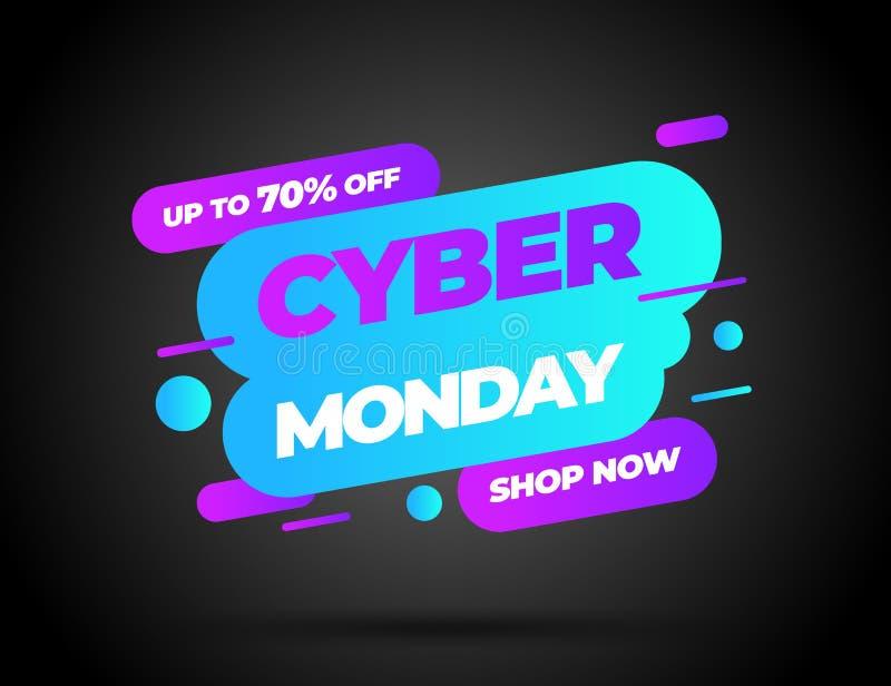 Cyber segunda-feira, conceito da venda do disconto Molde do projeto da inscrição Bandeira de segunda-feira do Cyber Ilustração do