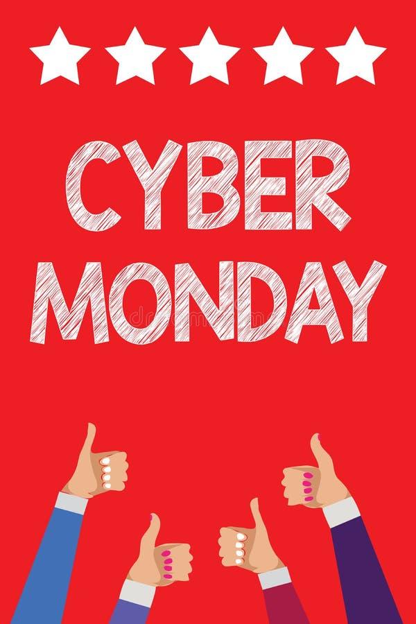 Cyber segunda-feira da escrita do texto da escrita Termo de mercado do significado do conceito para segunda-feira após o dia de a ilustração stock