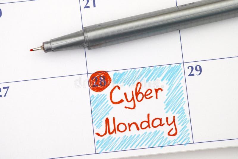 Cyber segunda-feira do lembrete no calendário com pena fotos de stock royalty free