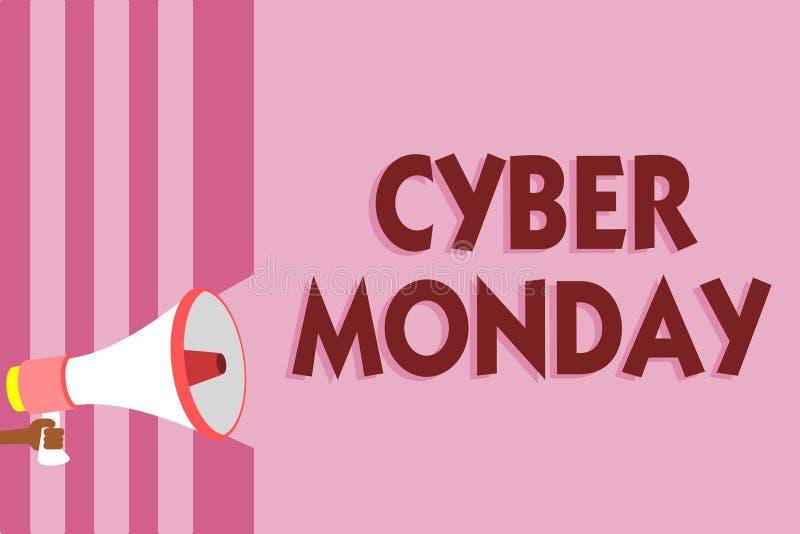 Cyber segunda-feira do texto da escrita da palavra Conceito do negócio para o termo de mercado para segunda-feira após o dia de a ilustração do vetor