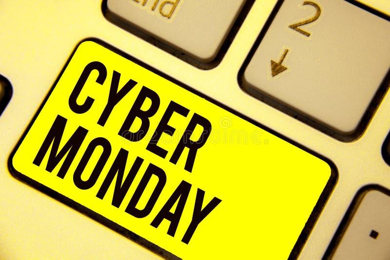 Cyber segunda-feira do texto da escrita da palavra Conceito do negócio para o termo de mercado para segunda-feira após o dia de a ilustração royalty free