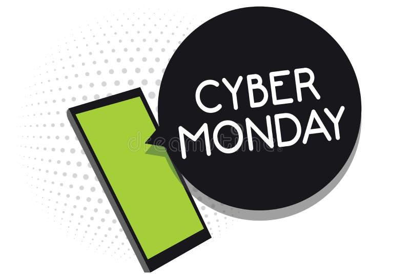 Cyber segunda-feira do texto da escrita Termo de mercado do significado do conceito para segunda-feira após o dia de ação de graç ilustração royalty free