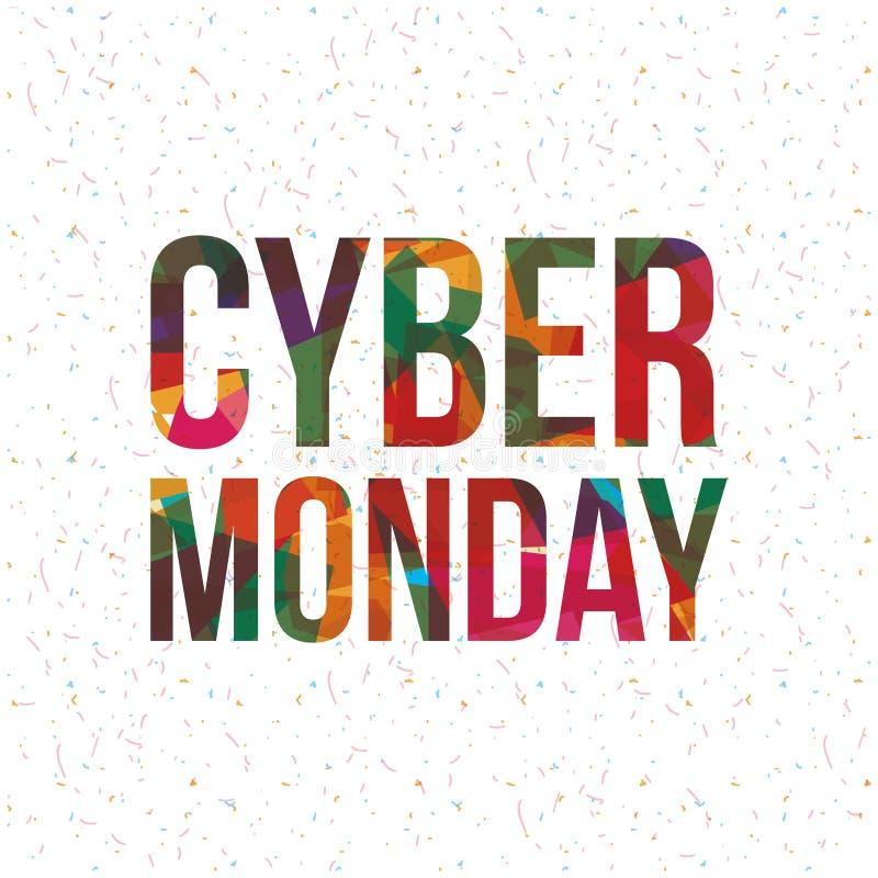 Cyber segunda-feira e projeto do comércio eletrónico ilustração do vetor
