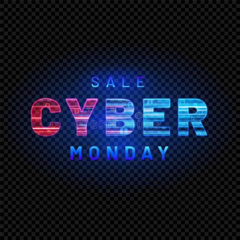 Cyber segunda-feira Evento de venda em linha relativo à promoção Ilustração da tecnologia do vetor ilustração stock