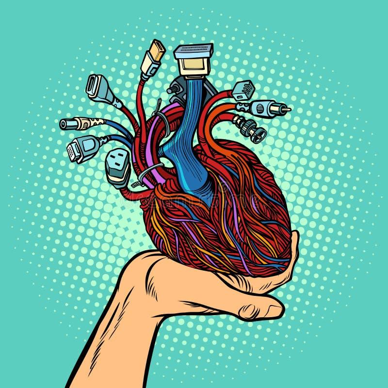 Cyber serce w ludzkiej ręce ilustracja wektor