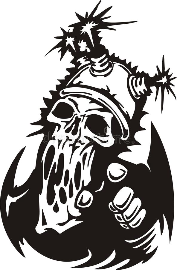 Cyber Skull. Vector illustration. Ready for vinyl cutting stock illustration