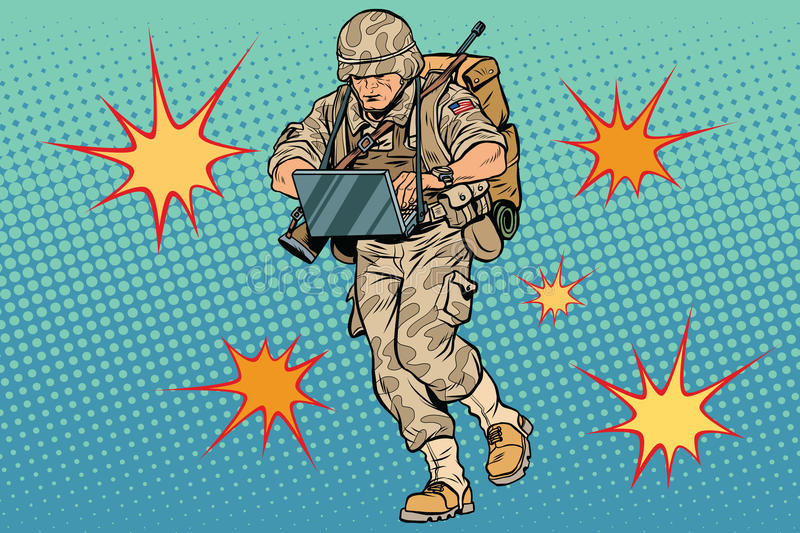 Cyber soldier with a computer. Vintage pop art retro comic book vector illustration. Commando officer. US army. Flash explosions royalty free illustration