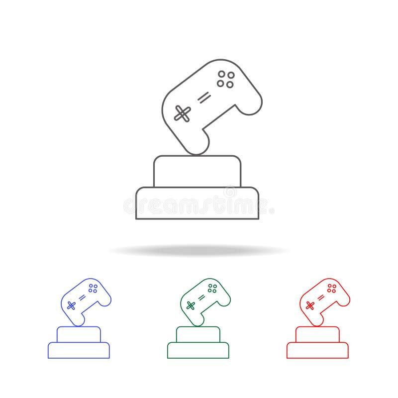 Cyber sportów filiżanki ochraniacza gemowa ikona Elementy gemowy życie w wielo- barwionych ikonach Premii ilości graficznego proj royalty ilustracja