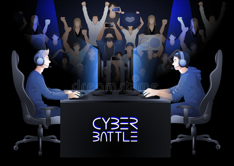 Cyber sport design. Two computer players sitting at the table opposite each other with a crowd of cheering fans on the background. Side view. Vector participants royalty free illustration