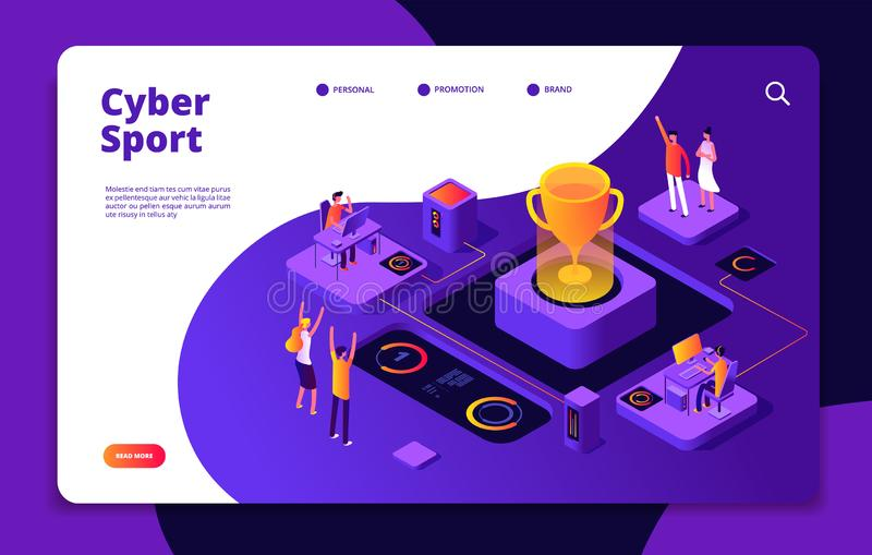 Cyber sport. Esports stream online video game gamer tournament computer console 3d games competitive market vector. Landing page. Illustration of cybersport royalty free illustration