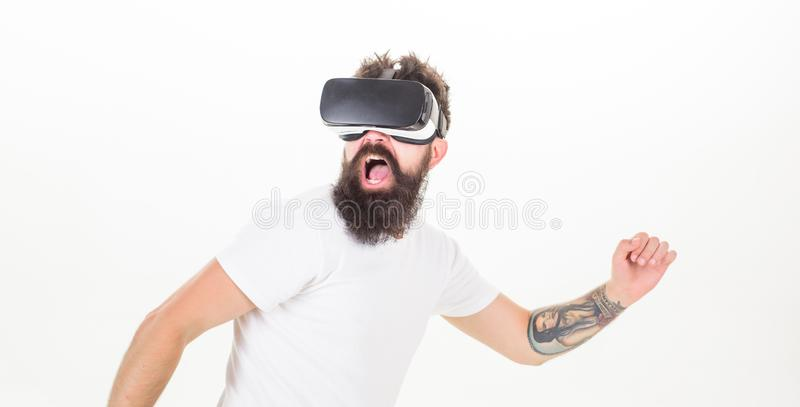Cyber sport Facet z głowa wspinającą się pokazu antrakta rzeczywistością wirtualną Wirtualna aktywność Modniś sztuki sporta wirtu obrazy stock