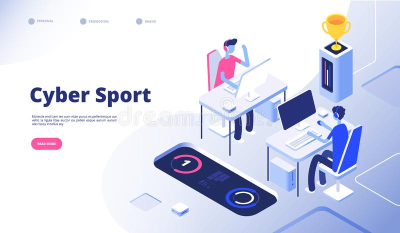 Cyber sport. Gamer tournament stream esports online video game with computer console 3d games vector concept vector illustration