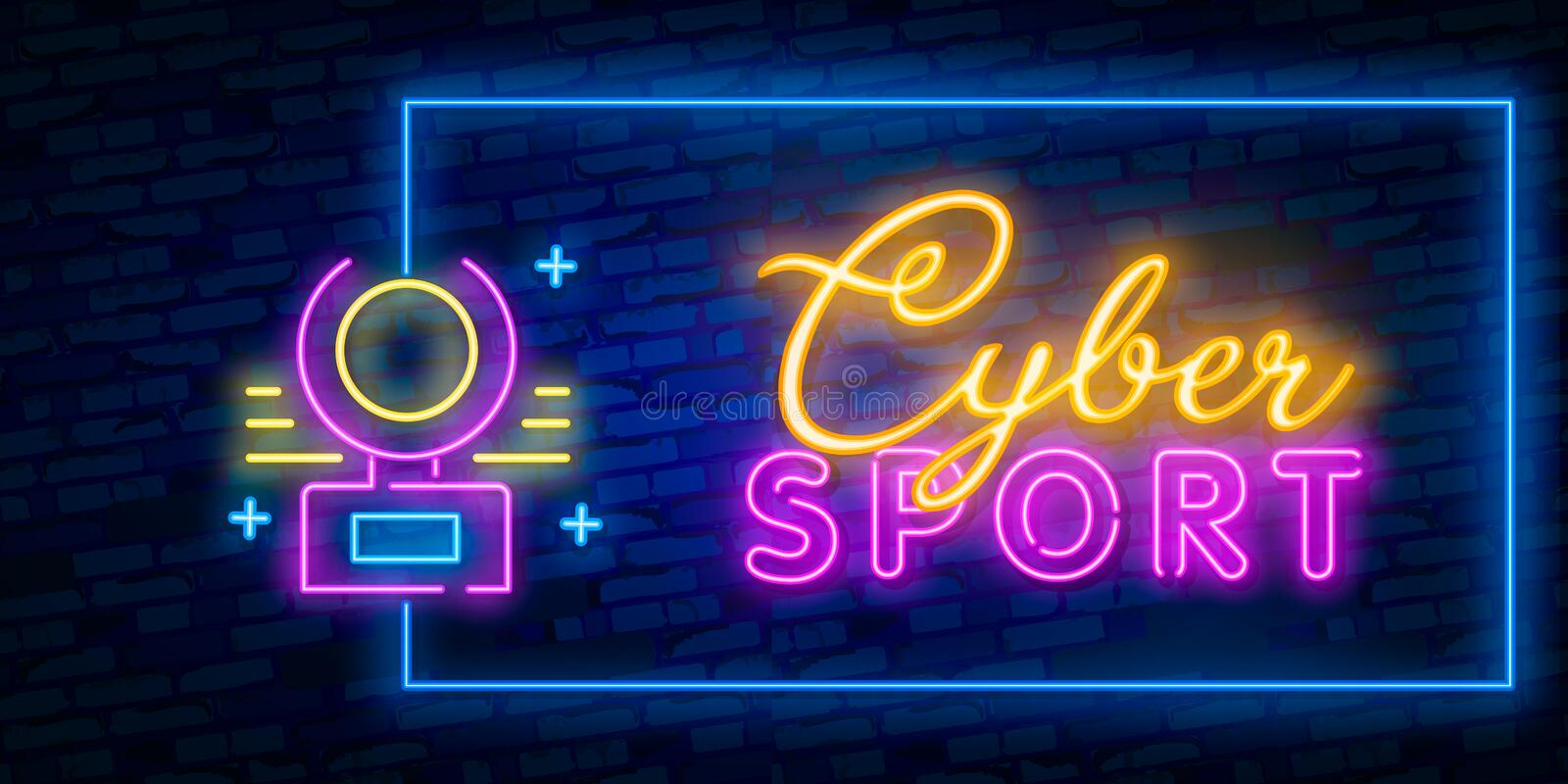 Cyber Sport Neon Text Vector. Gaming neon sign, design template, modern trend design, night signboard, night bright advertising, royalty free illustration