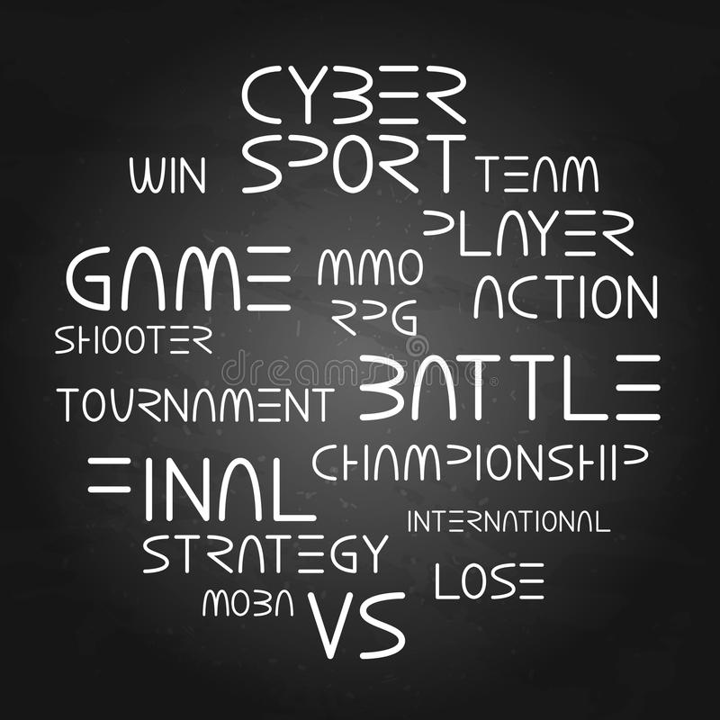 Cyber sport phrases stock illustration