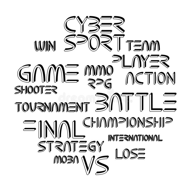 Cyber sport phrases vector illustration