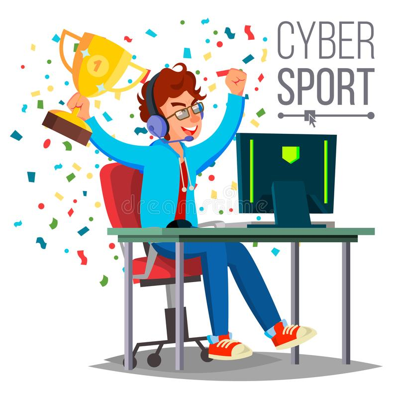 Cyber Sport Player Vector. Playing Computer Game. Professional Gamer. Event. Competition. Game Strategist. On. Cyber Sport Player Vector. Sitting At The Table stock illustration
