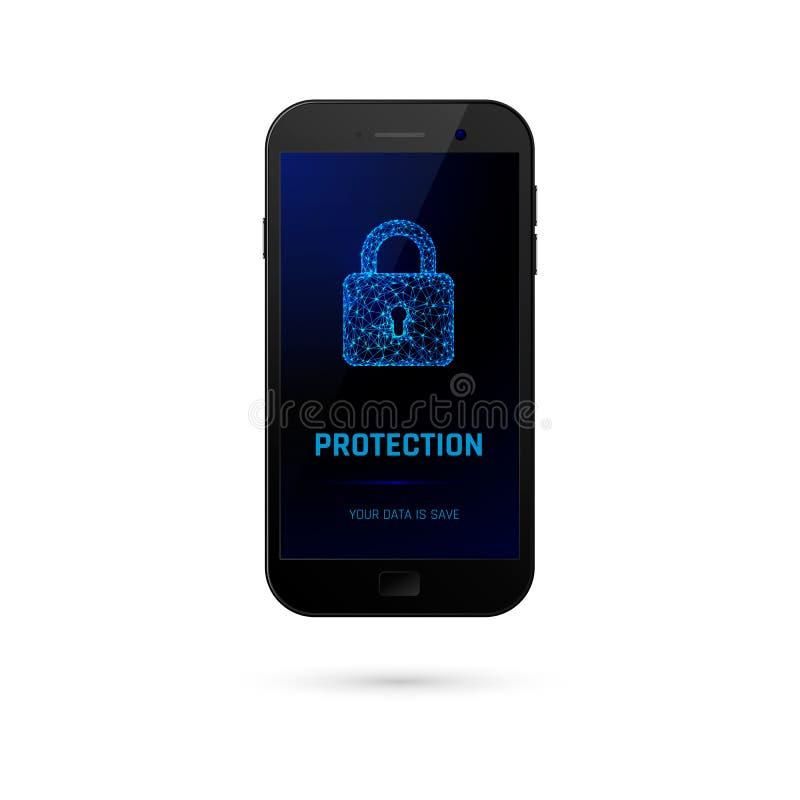 Cyber systemu bezpieczeństwa pojęcie Telefon komórkowy z kłódką na ekranie wektor ilustracji