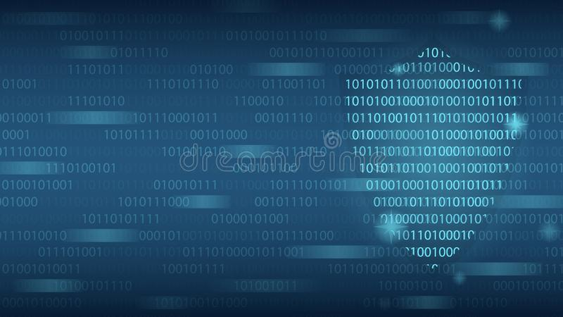 Cyber technology security, shield on digital binary code screen, network protection background design. Vector illustration stock photo