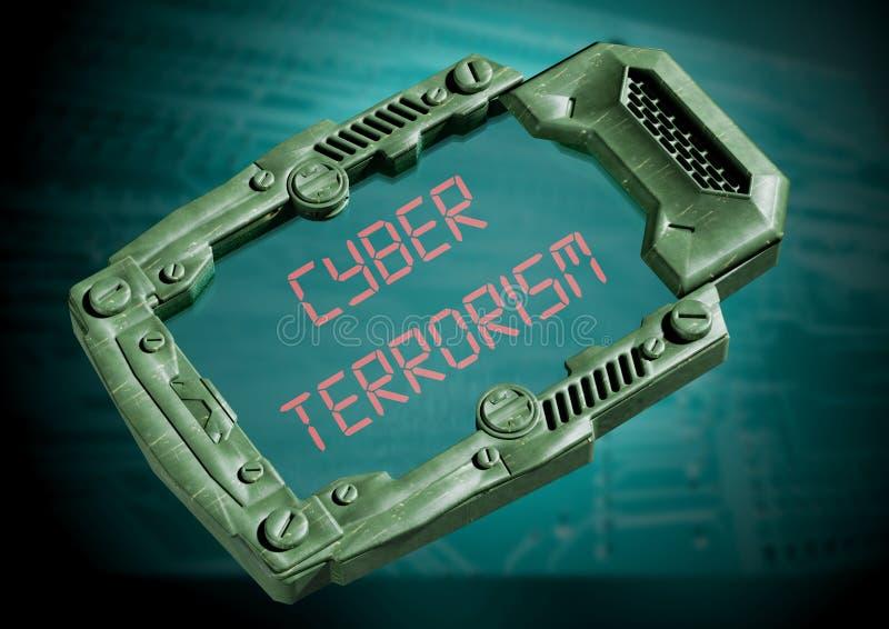 Cyber terroryzmu pojęcie Futurystyczny fantastyka naukowa informator z przejrzystym ekranem royalty ilustracja