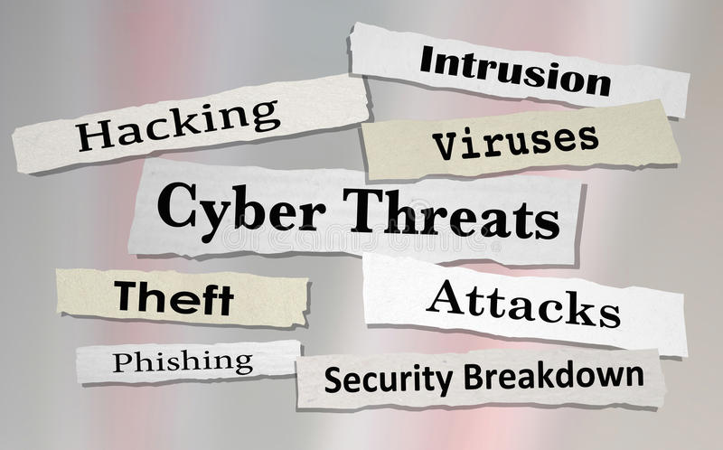 Cyber Threats Attacks Hacking Newspaper Headlines 3d Illustration royalty free illustration