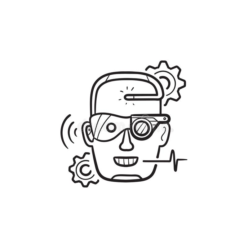 Cyber ulepszenia konturu doodle ręka rysująca ikona royalty ilustracja