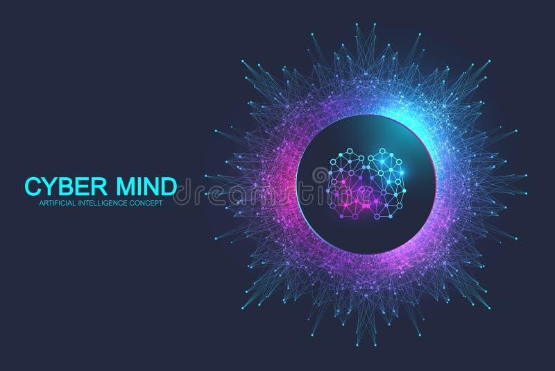 Cyber umysł i Sztucznej inteligencji pojęcie Neural sieci i inny nowożytny technologii pojęcie M??d?kowa analiza ilustracji