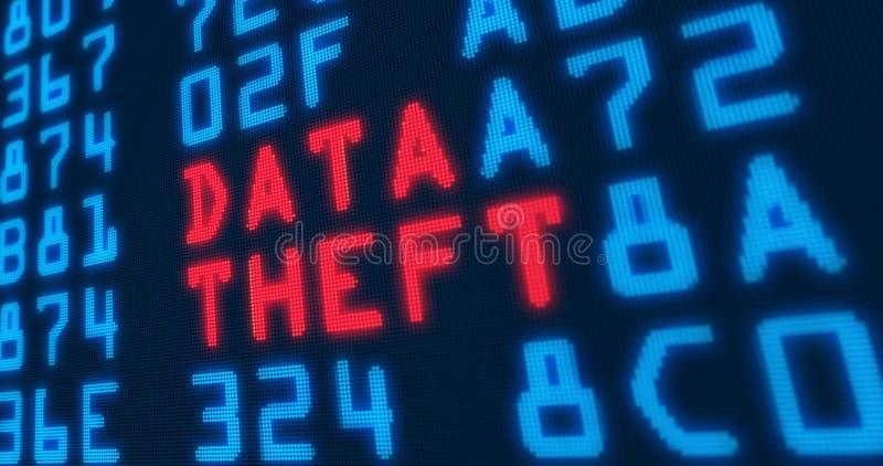 """Cyber veiligheid diefstal van modewoorden†de """"gegevens royalty-vrije illustratie"""