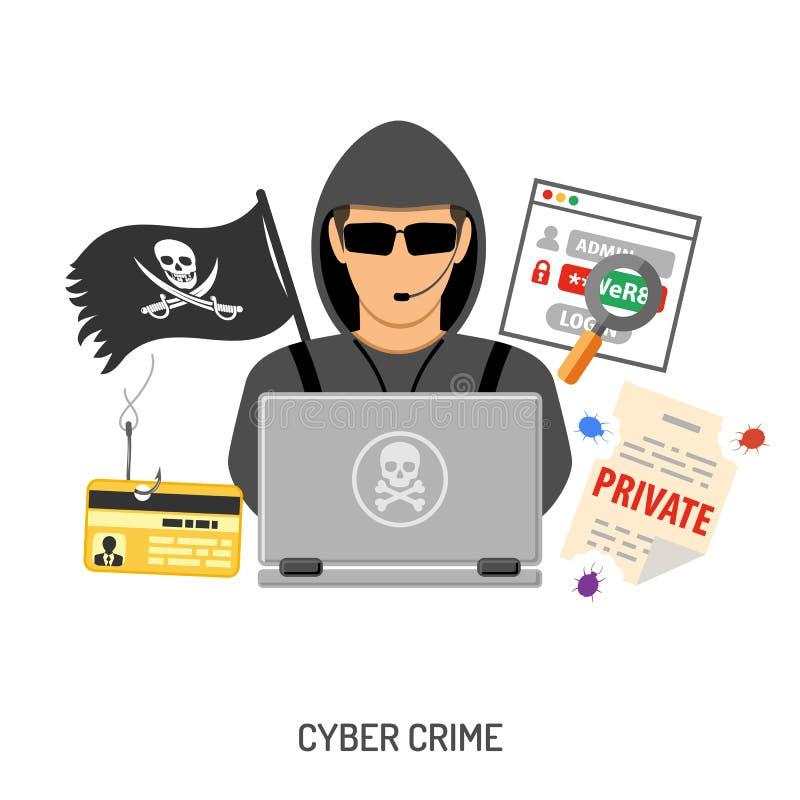 Cyber-Verbrechen-Konzept mit Hacker vektor abbildung