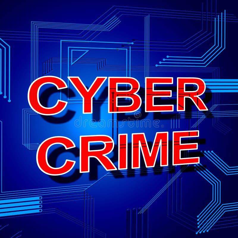 Cyber-Verbrechen-Zeichen zeigt Diebstahl-Spyware und Sicherheit lizenzfreie abbildung
