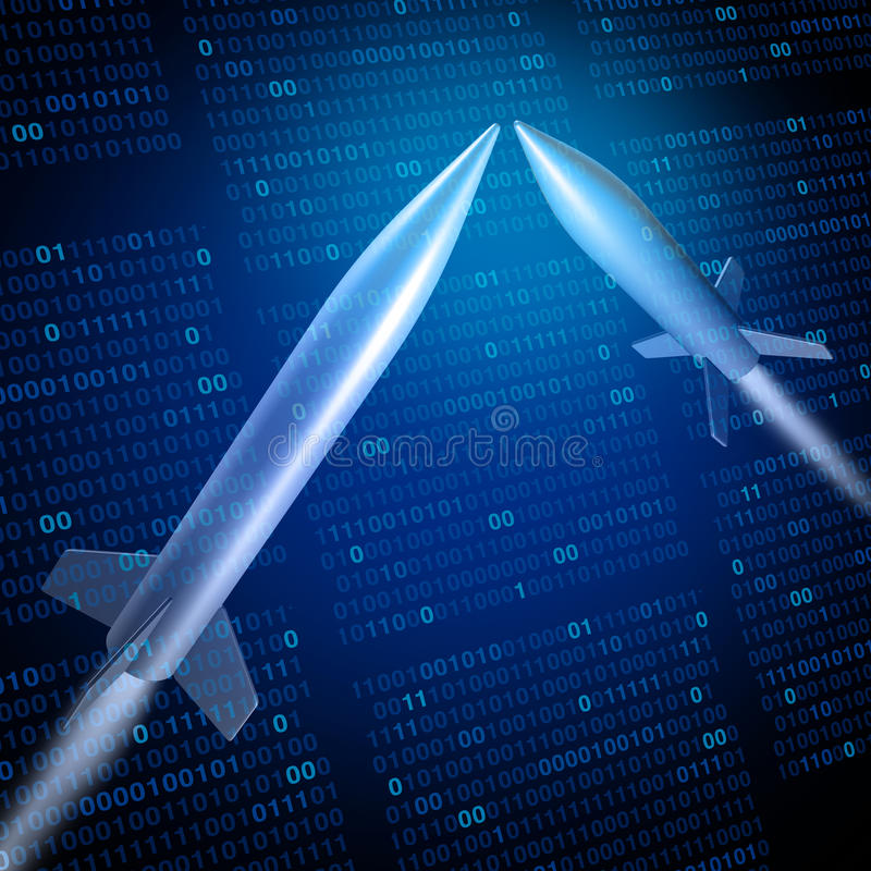 Cyber War. Or cyberwarfare military defense technology concept as missiles attacking with binary code background as a 3D illustration royalty free illustration