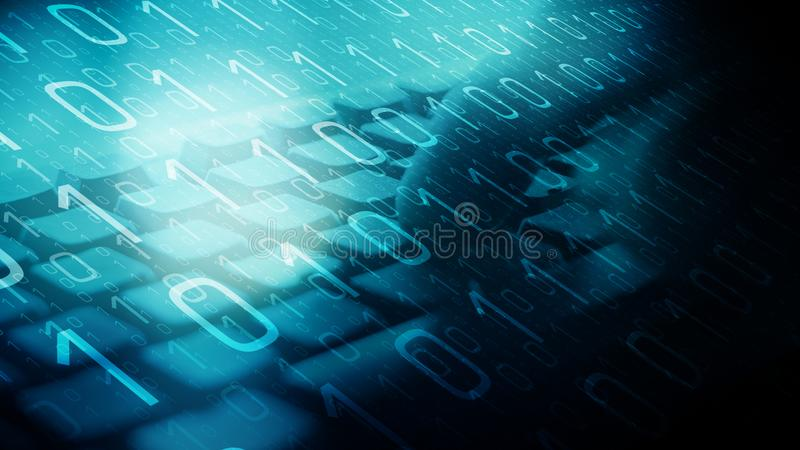 Cyber warfare attacks, computer algorithm. Man's hands typing on a computer keyboard and binary code stock photos