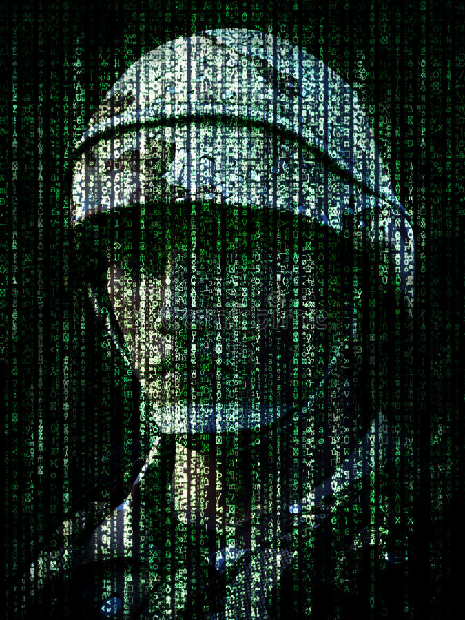 Cyber warfare concept. Military soldier embedded into computer internet symbol binary code. 3d rendering royalty free illustration