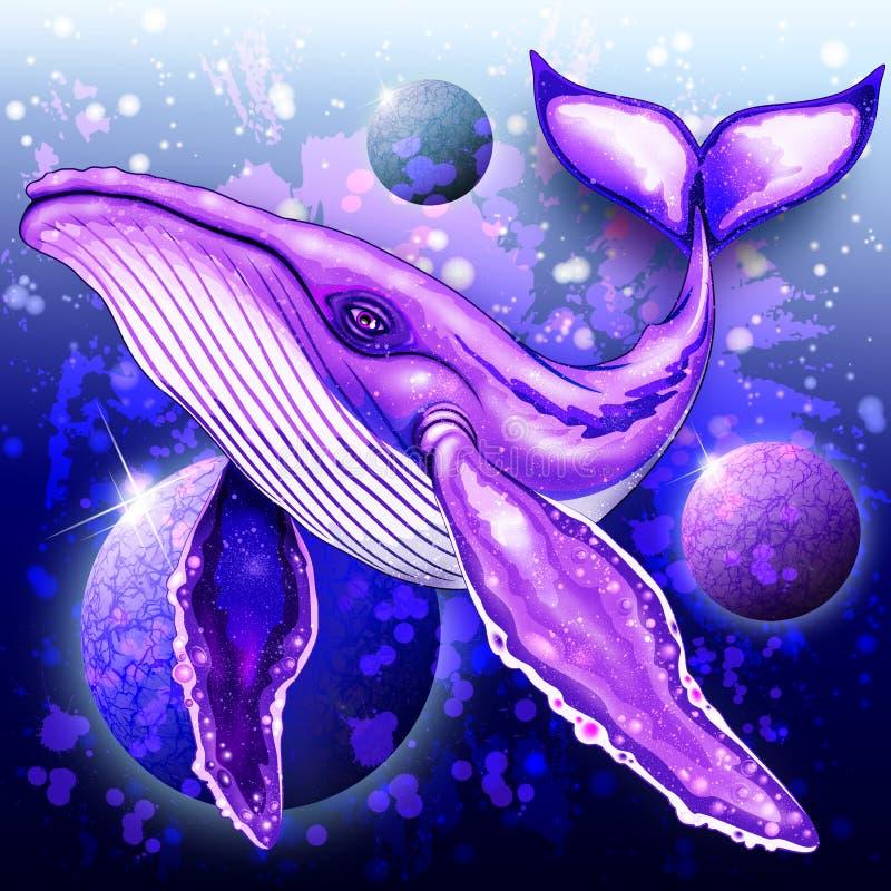 Cyber wieloryb na Ultrafioletowym Głębokiej przestrzeni oceanie ilustracji