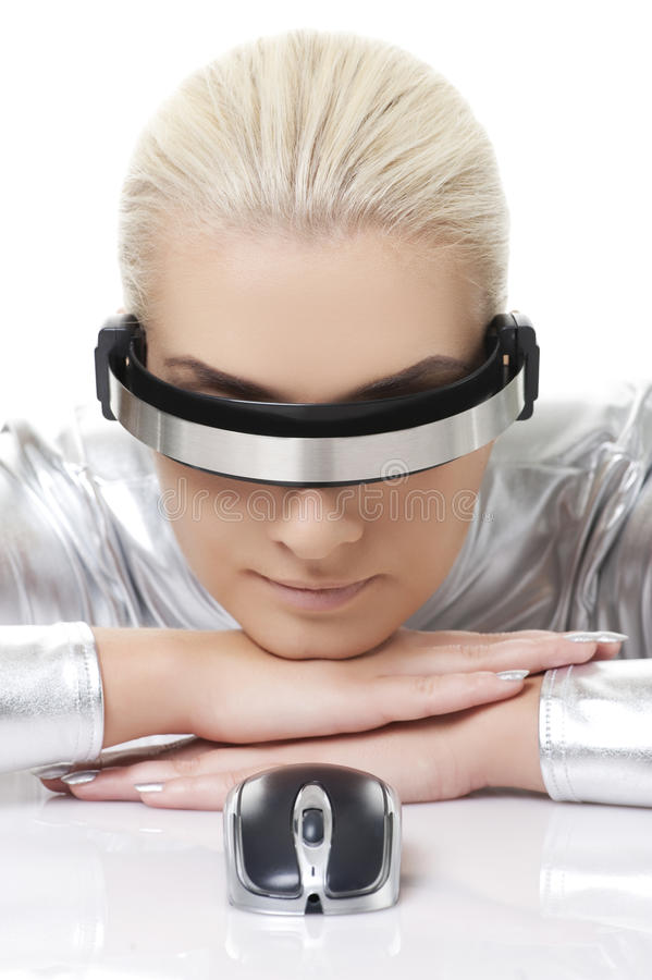 Cyber woman with computer mouse royalty free stock image