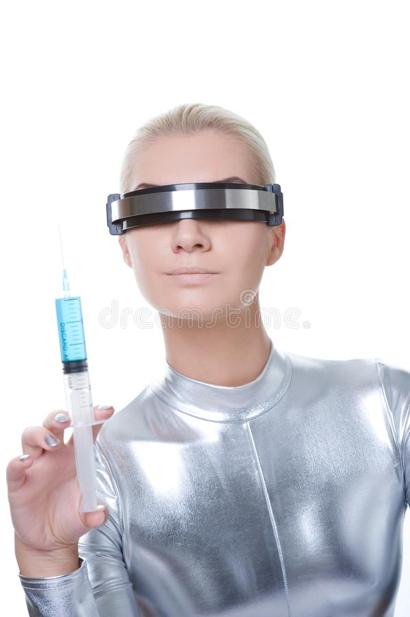 Download Cyber Woman Making Injection Stock Photo - Image: 12113616