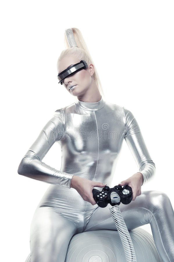 Cyber woman playing video game stock image