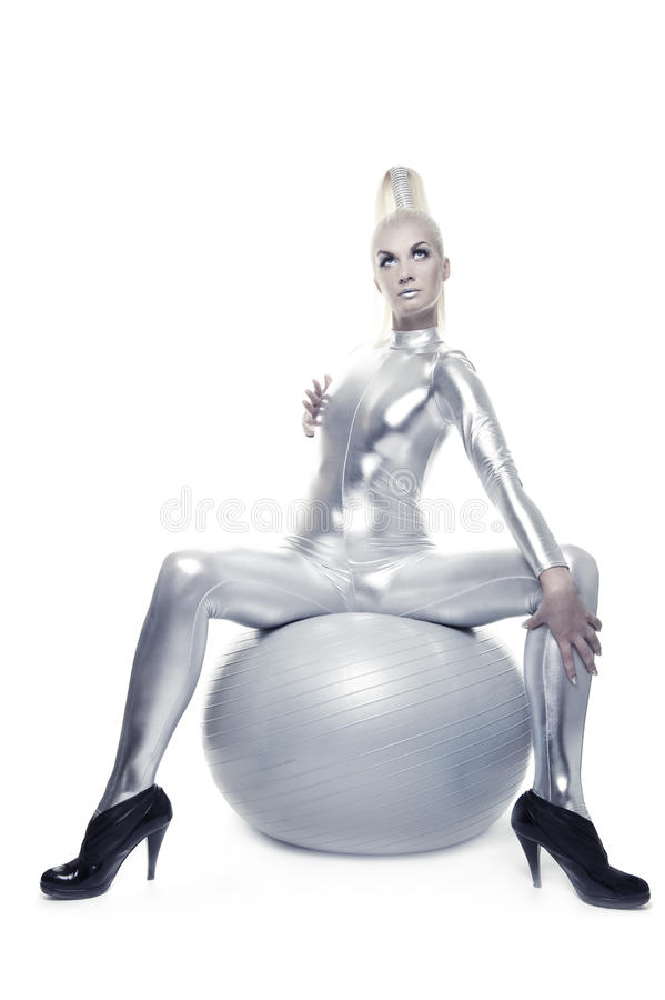 Free Cyber Woman Sitting On A Silver Ball Stock Photos - 10432363