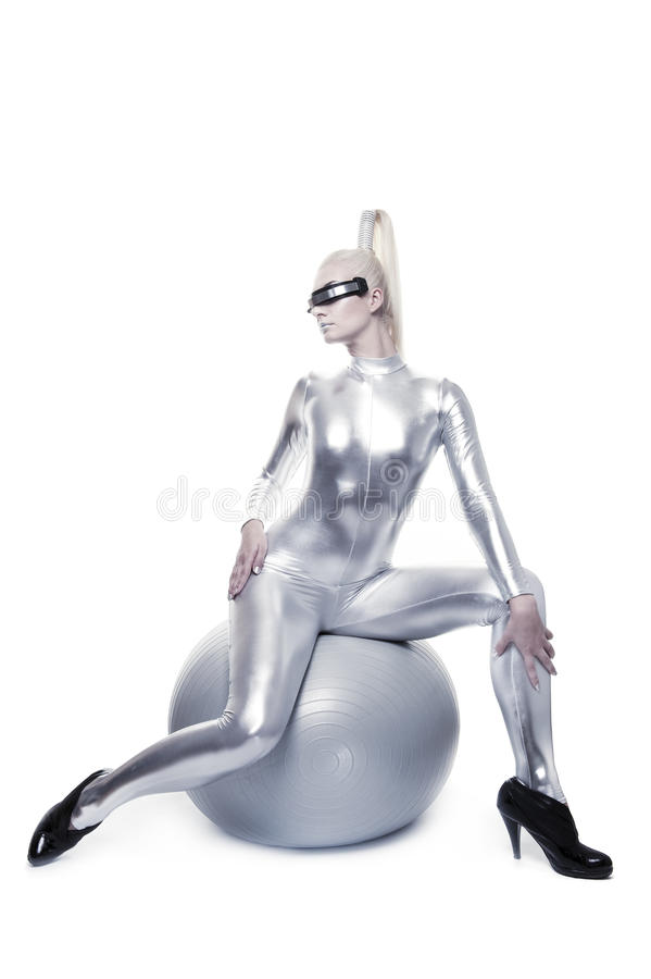 Free Cyber Woman Sitting On A Silver Ball Royalty Free Stock Photos - 10974188