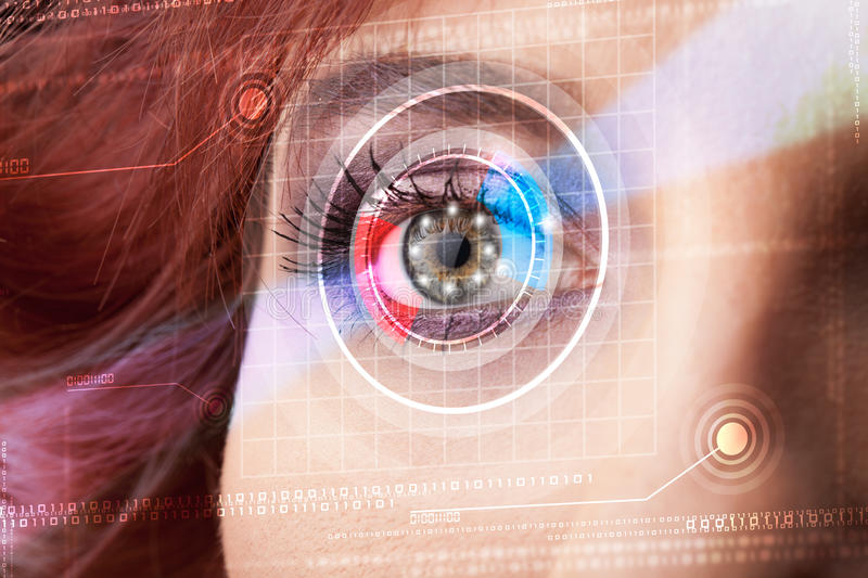 Cyber woman with technolgy eye looking stock photos