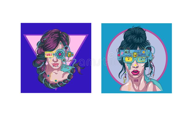 Cyber woman virtual reality glasses parts of cyber body stock illustration