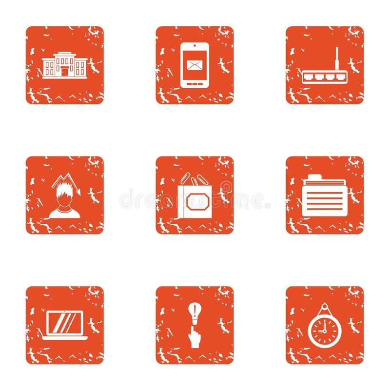 Cyber work icons set, grunge style. Cyber work icons set. Grunge set of 9 cyber work vector icons for web isolated on white background vector illustration