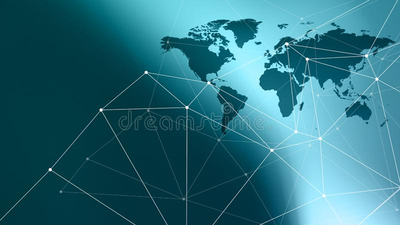 Cyber world new technology abstract connections dots and wires. Connected dots with lines and graphic world map, creative abstract background. Global business or stock image