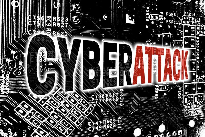 Cyberattack com fundo do conceito da placa de circuito imagem de stock
