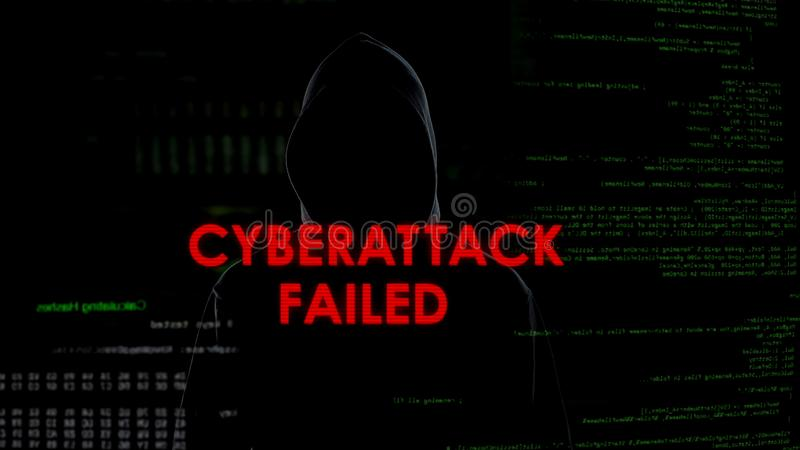 Cyberattack failed, unsuccessful attempt to hack server, disappointed criminal. Stock photo stock photo