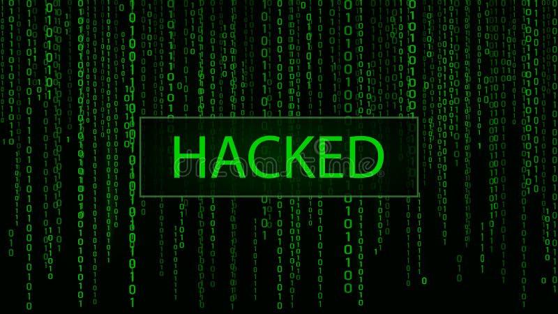 Cyberattack hackat Gr?n matris f?r Digital bakgrund dator f?r bin?r kod Mallar f?r fel f?r datorsk?rm vektor illustrationer