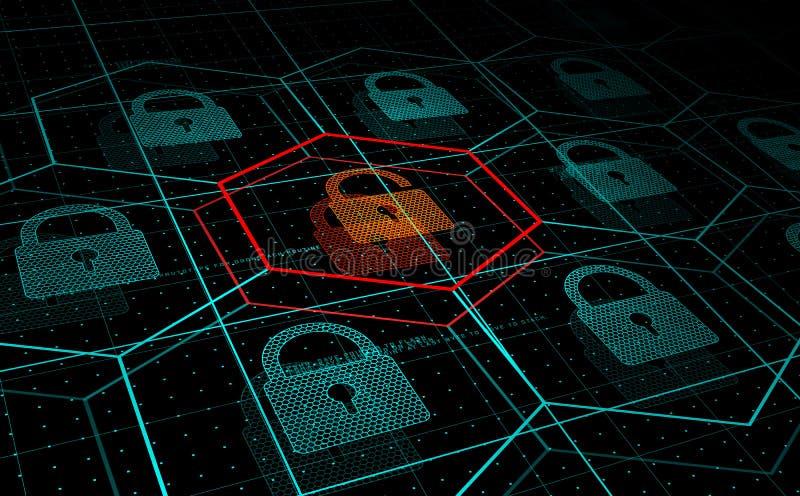 Cyberattack, system under hotet, DDoS attack vektor illustrationer