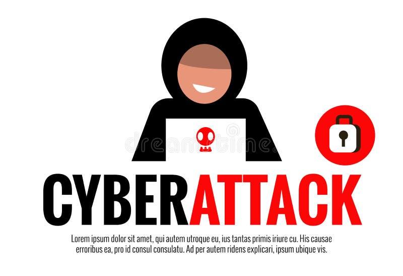 Cyberattackbegrepp stock illustrationer